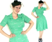 1930s Dress - Vintage Repro Swing Dress in Mint Green Recycled Crepe Fabric size S/M