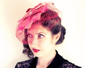 Hot Pink Cocktail Hat Fascinator or Bridal Birdcage Veil - Upcycled Vinyl Record and Vintage Millinery