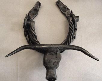 Handmade Wrought Iron Western Horse and Steer Door Knocker