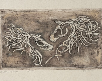 Two Horse Lovers Original Contemporary Art Embossment on Natural Handmade Paper Created by Cowboy Artist Tolley Marney and Cristina Acosta