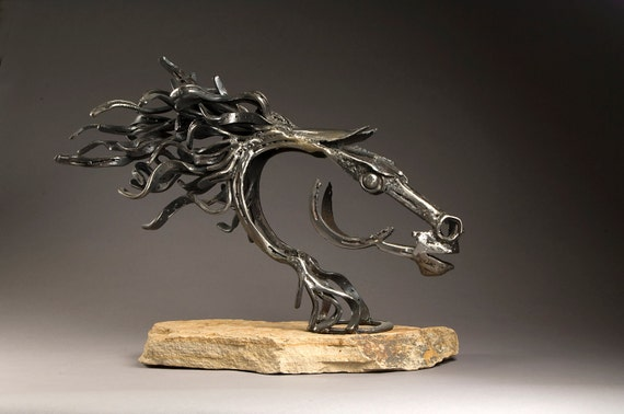 Strength - Cowboy Made Blacksmithed Steel Horse Sculpture
