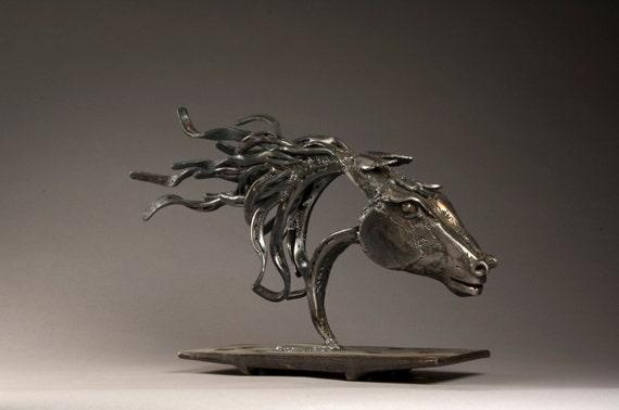 Cowboy Made Blacksmithed Steel Wild Horse Sculpture