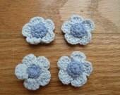 tone on tone blue crochet flowers
