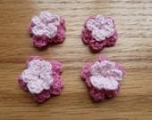 double pink crochet flowers