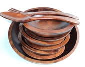 Vintage Wooden Bowl Serving Set Rustic Cottage Chic Decor, 6 small Bowls, Large Bowl, Fork and Spoon Baribocraft 1960's
