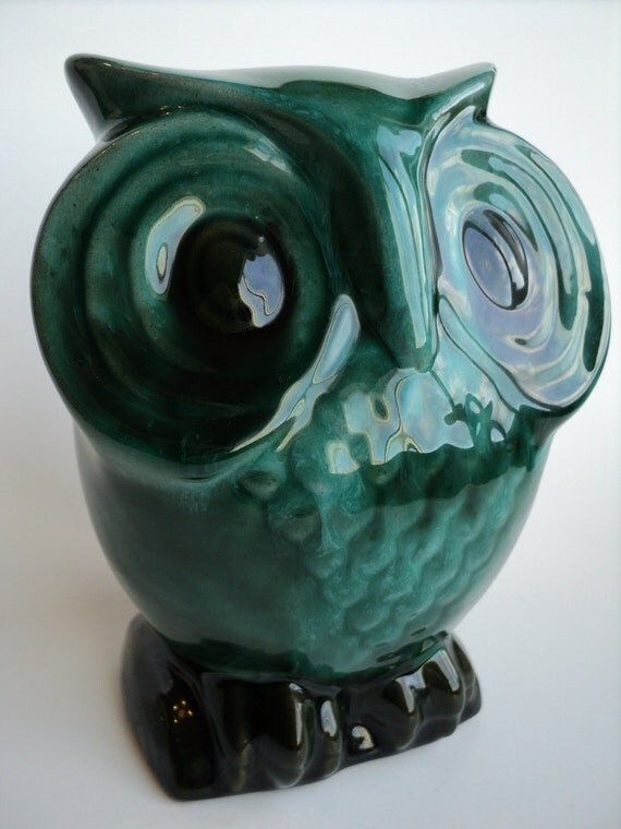 Owl Vintage Ceramic Coin Bank, Teal, Turquoise, Drip Glaze, 1970's Evangeline Ware, Canuck Pottery