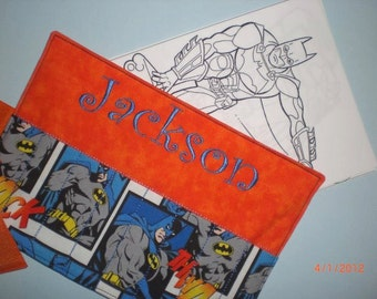 Crayon Case Roll-ups for Kids with back pocket for holding paper BATMAN print (personalized with name)