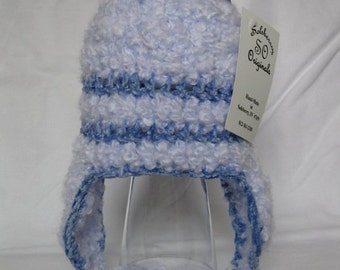 Crocheted Baby Boy Blue Striped Earflap Hat