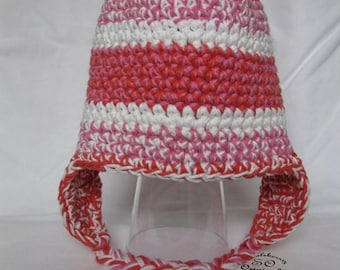 Crocheted Baby-Toddler Pink Striped Earflap Hat