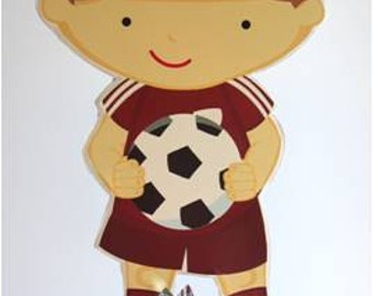 Large Boy Soccer Player Centerpiece With Candy Base