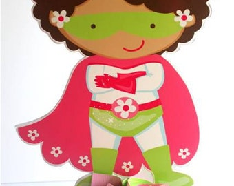Large African American Girl Super Hero Centerpiece With Candy Base