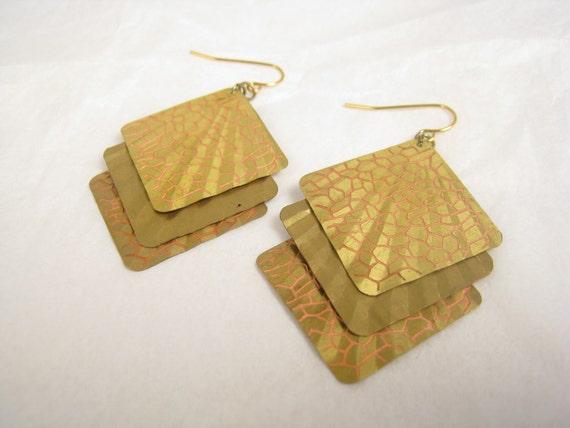 Radiant Vintage Brass Dangle Earrings - Giraffe print
