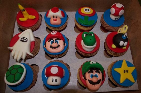 Fondant Edible Super Mario & Luigi Brothers Cupcake Cake Toppers (set of 12-customize)