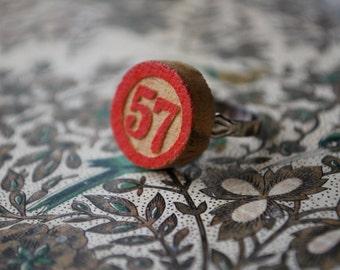 Bingo Game Piece Ring Red wood