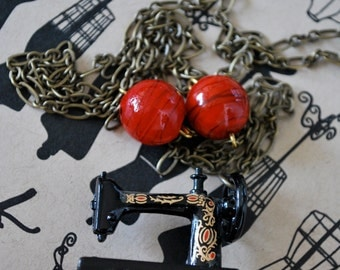 Red and black Miniature Vintage Sewing Machine Necklace on brass chain