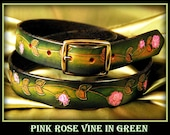 "Ladies leather hand made belt 1.25"" wide, pink roses on a lush green background.Looks good in your favorite jeans. This is one fabulous belt"