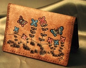 Leather Card Case,flowers & Butterflys for Mom,, perfect size for credit and business cards, Great for Graduation too
