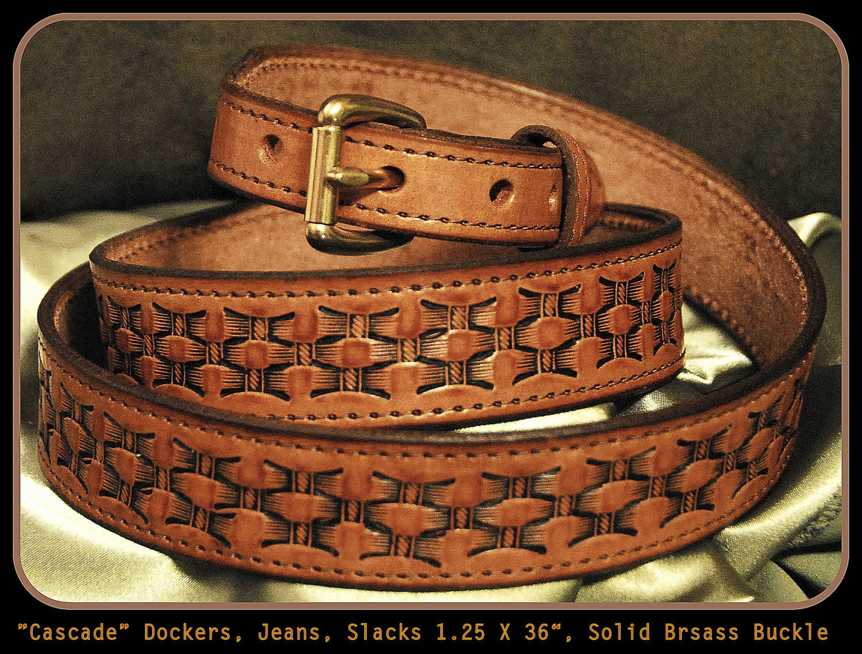 handmade leather belt for dockers and dress light