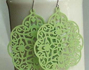 SALE - Soft Apple Big bold bohemian lace filigree earrings