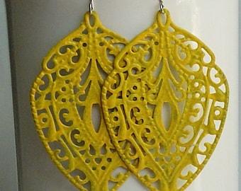 SALE -  Yellow leaf  filigree earrings