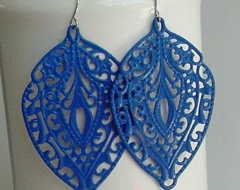 SALE -  Handpainted True Blue leaf  filigree earrings
