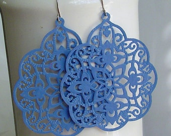 SALE - Soft blue Big bold bohemian lace filigree earrings