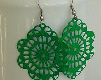 SALE -  Handpainted  Green color filigree  earrings