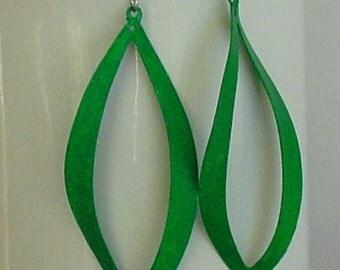 SALE - Handpainted  green color wavy earrings
