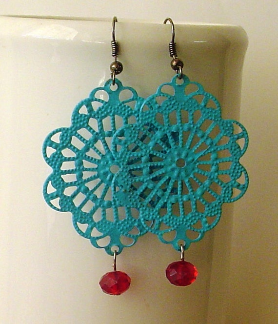 SALE -  Handpainted  Calypso Sky color filigree  earrings with Red crystal dangle