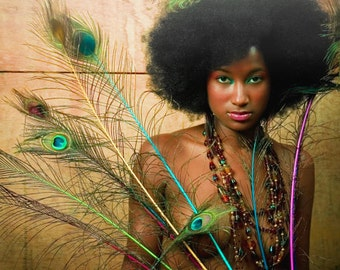 8 x12 inch C-Print Afro Girl with Peacock Feathers (CYBER MONDAY SALE)