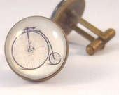 Cuff Links Antique Brass Round Penny-farthing bicycle cycle bike