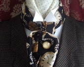 Pocket Watch Black Cotton Cravat Victorian Ascot