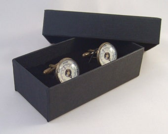 Cuff Links Antique Brass Round Barometer