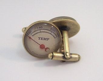 Cuff Links Antique Brass Round Fuel and Temp Gauges