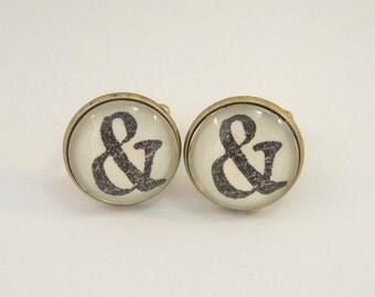Cuff Links Antique Brass Round & Ampersand