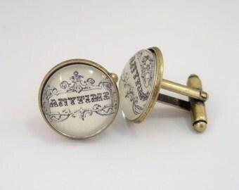 Cuff Links Antique Brass Round Vintage Anytime