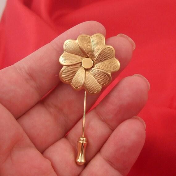 Brass Flower Tie Cravat Lapel Pin Brooch Stick Pin