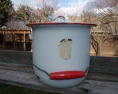 Lidded Red on White Vintage Enamelware Cooking Pot Stock Pot with wooden handle