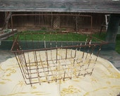 """Vintage Industrial Rusting Metal Plastic coated Wire Basket 16"""" x 12"""" x 7"""""""