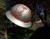 Vintage Aluminum Jackson Products Hardhat, Well Worn Woods worker Hard Hat, Construction, Safety Helmet