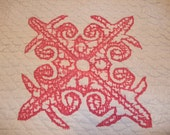 """Antique late 1800's CUTTER QUILT Fleur-de-lis applique  Red on White Hand Quilted 72"""" x 87"""""""