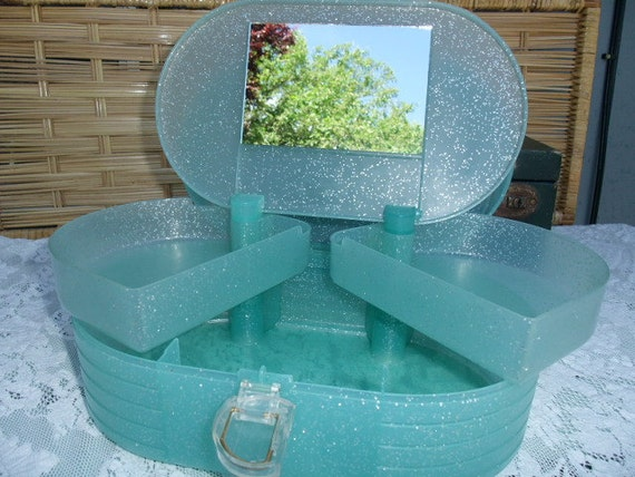 Caboodles Vintage 1980's Clear Glitter Turquoise Tiered Cosmetic Organizer w Vanity Mirror Jellies