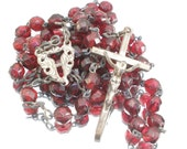 Vintage Rosary with Wine Red Glass Beads
