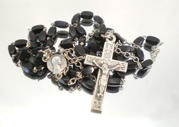 French Catholic Rosary with Black Glass Beads (L)