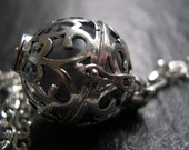 Silver Pregnancy/Maternity Necklace, Mexican Bola Necklace in Grey