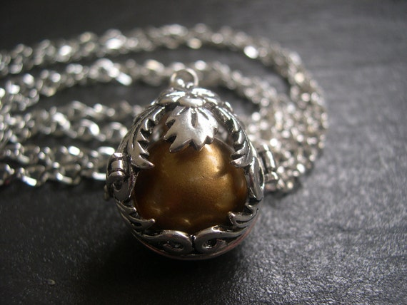 Silver Pregnancy/Maternity Necklace, Mexican Bola Necklace with Gold Bola Ball