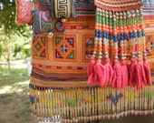 Tribal Vintage Hmong Bag Made With Upcycled Hmong  Hilltribe Textile From Old Hmong Skirt