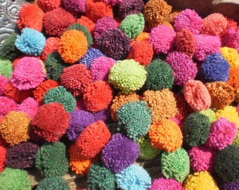 250 Hand Made  Pom Poms Beautiful Mixed Colours 250 PomPOm Special Wholesale Price
