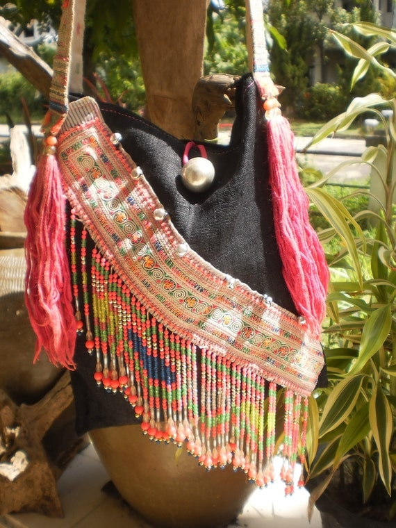Tribal Vintage Hmong Bag Made With Upcycled Hmong  Hilltribe Textile Hand Made