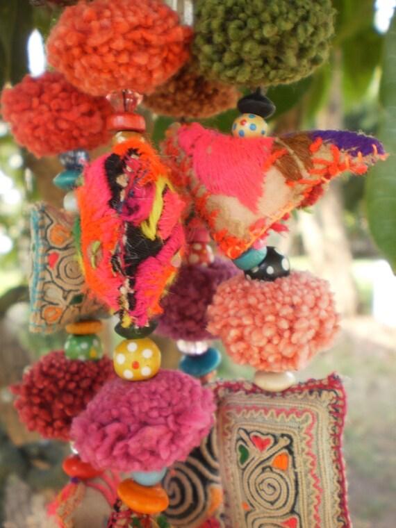 Hmong Tribal  Vintage Textile Keyring Dangle Or Bag Decoration